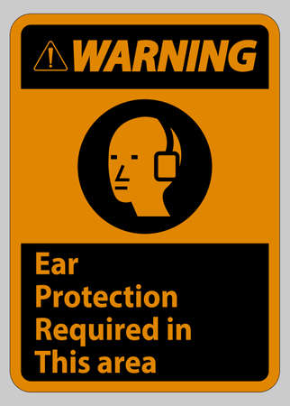 Warning Sign Ear Protection Required In This Area Symbol