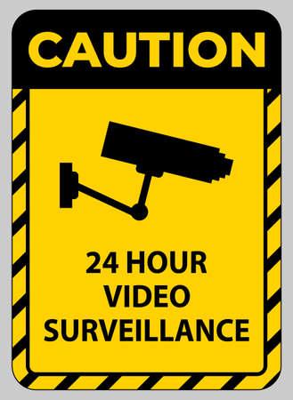 Caution Sign CCTV 24 Hour Video Surveillance 向量圖像