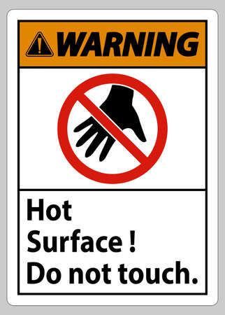 Warning Sign Hot Surface Do Not Touch On White Background