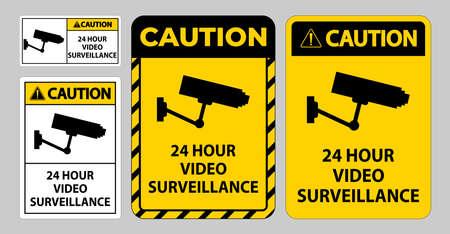 Caution Sign CCTV 24 Hour Video Surveillance