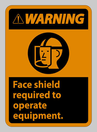 Warning Sign Face Shield Required to Operate Equipment 向量圖像