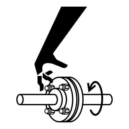 Cutting of Fingers Rotating Shaft Symbol Sign Isolate On White Background