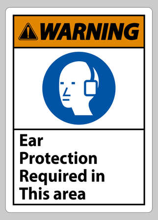 Warning Sign Ear Protection Required In This Area Symbol 向量圖像