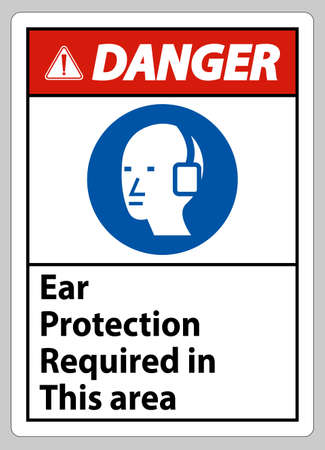 Danger Sign Ear Protection Required In This Area Symbol