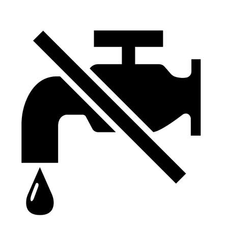 No water tap sign on white Background