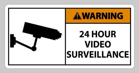 Warning Sign CCTV 24 Hour Video Surveillance 向量圖像