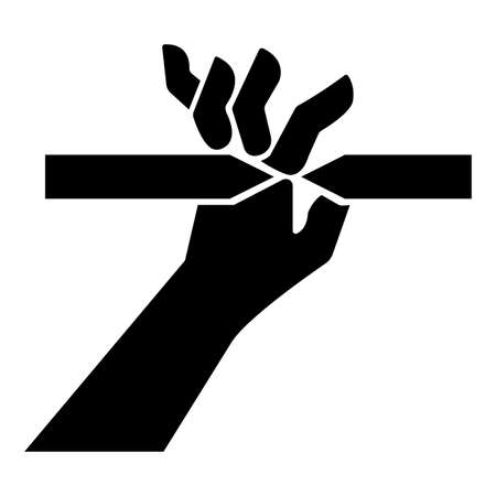 Cutting of Fingers Symbol Sign on White Background