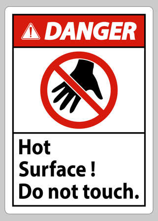 Danger Sign Hot Surface Do Not Touch On White Background