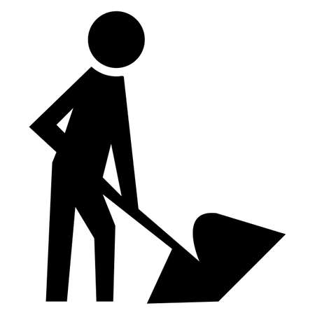 Caution Men At Work Symbol Sign Isolate on White Background,Vector Illustration