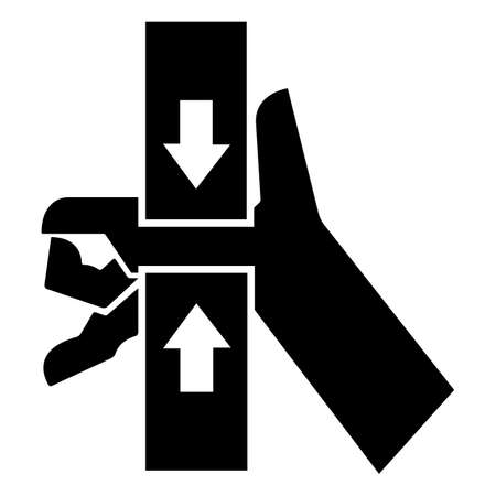 Caution Hand Crush Force From Top And Bottom Symbol Sign 向量圖像