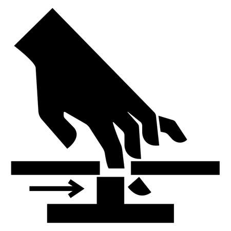 Cutting of Hand Moving Parts Symbol Sign Isolate on White Background