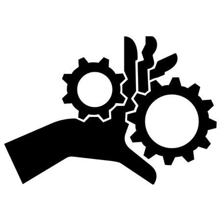 Hand Entanglement Rotating Gears Symbol Sign Isolate On White Background,Vector Illustration EPS.10 向量圖像