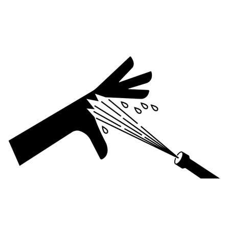 Skin Puncture Pressurized Water Jet Symbol Sign Isolate On White Background,Vector Illustration EPS.10