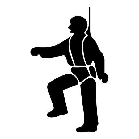 PPE Icon.Safety Harness Must Be Worn Symbols Sign Isolate On White Background,Vector Illustration 向量圖像