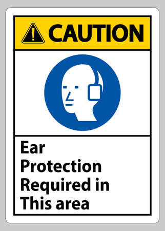 Caution Sign Ear Protection Required In This Area Symbol 向量圖像