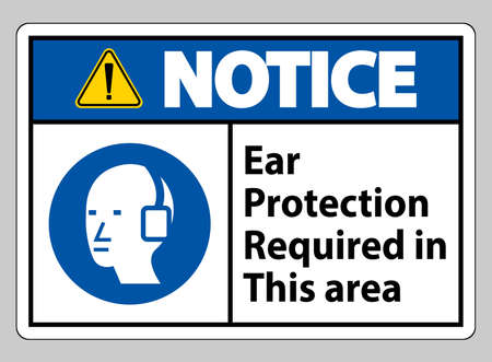 Notice Ear Protection Required In This Area Symbol Sign 向量圖像