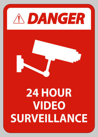 Danger Sign CCTV 24 Hour Video Surveillance
