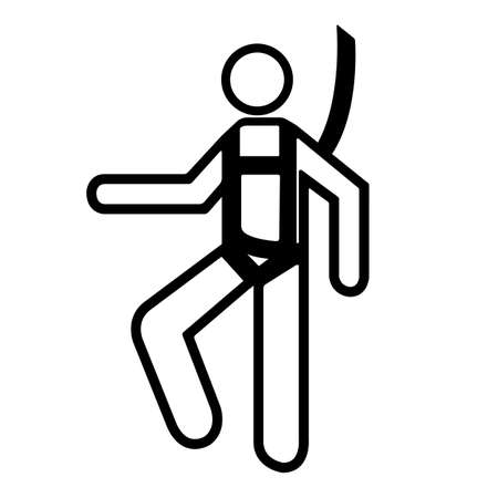 Symbol Wear Safety Harness Sign Isolate On White Background,Vector Illustration