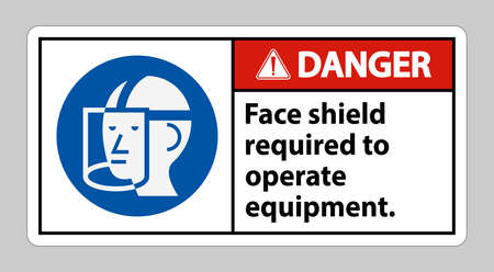 Danger Sign Face Shield Required to Operate Equipment 向量圖像