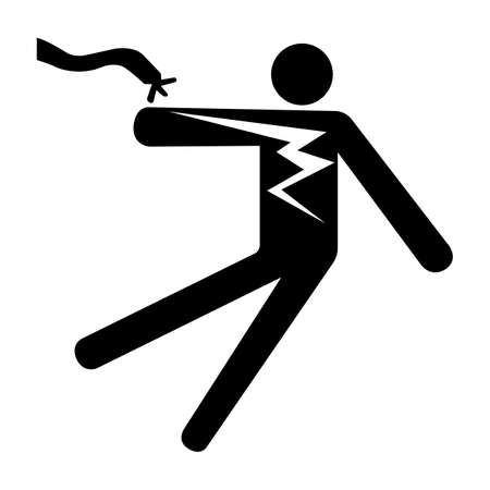 Electrical Shock Electrocution Symbol Sign Isolate On White Background,Vector Illustration