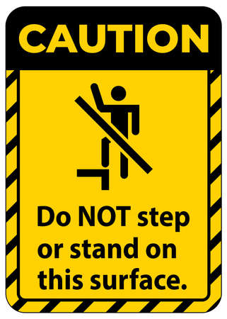 Caution sign do not step or stand on this surface.