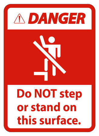 Danger sign do not step or stand on this surface.