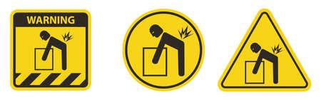 Lifting Hazard Symbol Sign Isolate On White Background Vetores