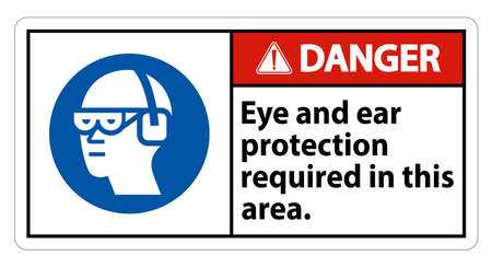 Danger Sign Eye And Ear Protection Required In This Area Illusztráció