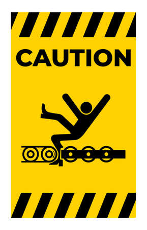 Warning Exposed Conveyor And Moving Parts Will Cause Service Injury Or Death Symbol Sign Isolate on White Background,Vector Illustration Illusztráció