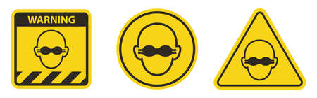 Caution Wear Opaque Eye Protection Sign Isolate On White Background
