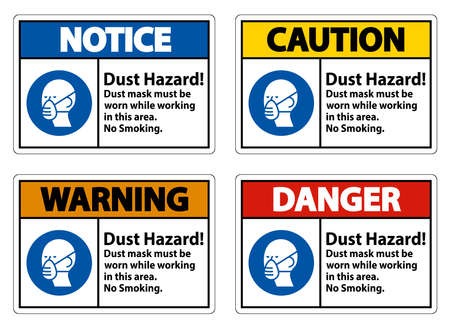Warning No Smoking Sign Dust Hazard Dust Mask Must Be Worn While Working In This Area Illusztráció