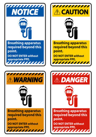 Warning Sign Breathing Apparatus Required Beyond This Point, Do Not Enter Without Appropriate PPE Illusztráció