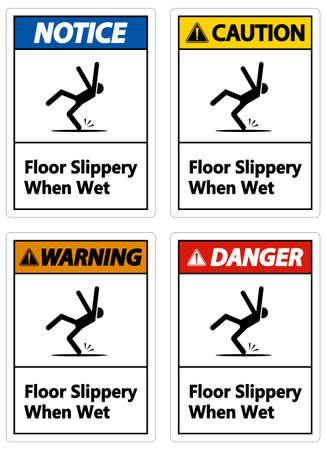 Warning Slippery When Wet Sign on white background