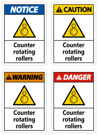 Counter rotating rollers sign on white background