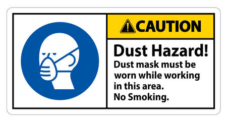 Caution No Smoking Sign Dust Hazard Dust Mask Must Be Worn While Working In This Area