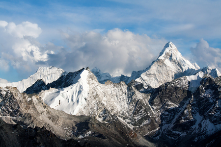 Ama Dablam from Kalapathar tops in the evening light Stock Photo - 53388482