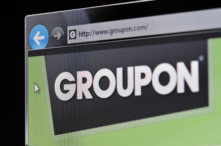 Münster, Germany - March 1, 2011: Groupon Website The website www.groupon.com is displayed on a computer screen. Editorial