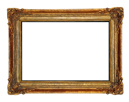 picture frame on wall: Gold plated wooden picture frame.