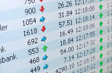 hoja de calculo: Primer plano de la bolsa de valores en la pantalla LCD
