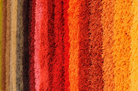 wool fiber: Espectro de color de las muestras de alfombra Foto de archivo