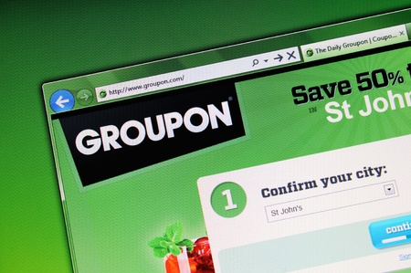 Muenster, Germany - May 23, 2011: The groupon website is displayed in web browser on a computer screen. groupon.com is on of the biggest coupon website of the world.
