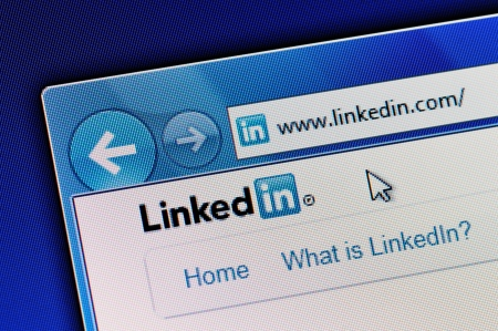 Muenster, Germany - May 23, 2011: Linkedin homepage is displayed in web browser on a computer screen. Linkedin.com is a business-oriented social networking site. Editorial