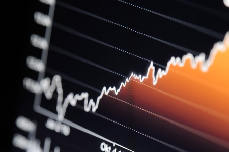 close-up of a stock market graph on a high resolution lcd screen. Stock Photo - 9771549