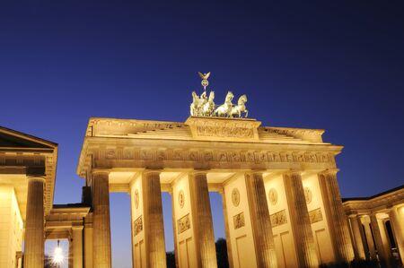 The Brandenburger Tor at night, Berlin, Germany.  photo