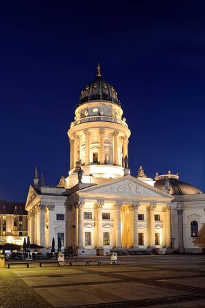 Night shot of the German Cathedral on Gendarmenmarkt, Berlin, Germany. Stock Photo