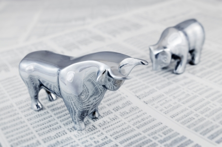 bear market: Business concept - Bull and bear, symbolic beasts of market trend.