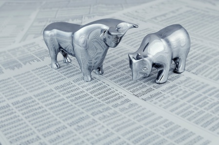 frankfurt stock exchange: Business concept - Bull and bear, symbolic beasts of market trend.