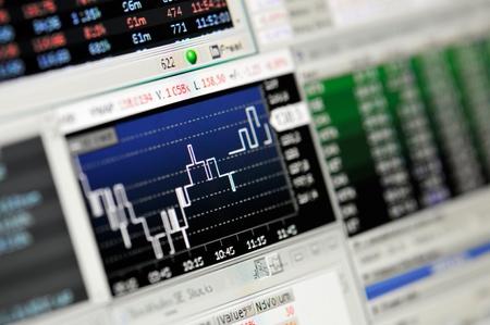 handel: M�nster, Deutschland - 26. August 2011: Ein Stock Market Financial Trading-Bildschirm auf einem hochaufl�senden LCD-Bildschirm.