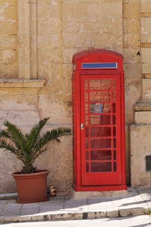 Red phone cabin in Mdina, Malta