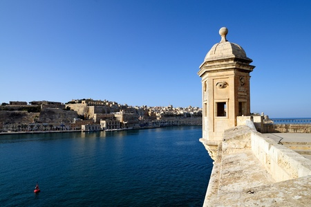 The Gardjola, at the edge of the bastions overlooking the Grand Harbour, Malta.